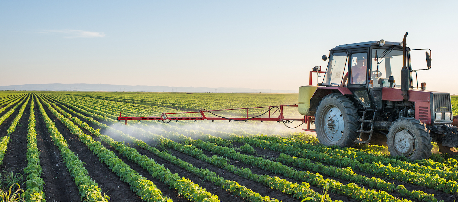 Tractor spraying an herbicide over crops